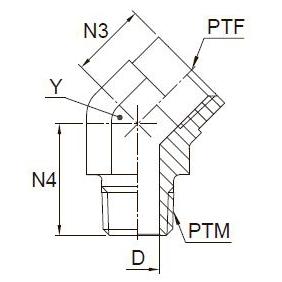 CD45 Угловой переходник 45° с внутренней и наружной резьбой. Нерж. сталь