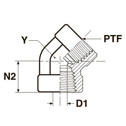 DD45 Угловой переходник 45° с внутренней резьбой. Нерж. сталь