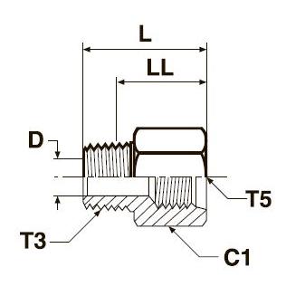 F3HG5 Резьбовой переходник с наруж. и внутр. резьбой. Нерж. сталь