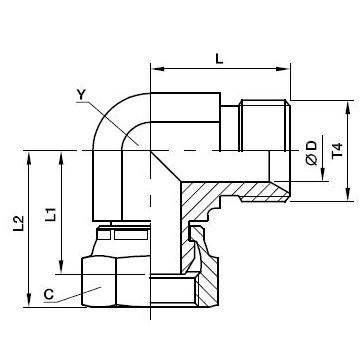 C6MK4 Угловой переходник со стяжной гайкой. Нерж. сталь