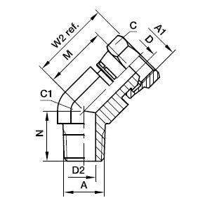 3107 Переходник угловой 45° с наружной резьбой и стяжной гайкой. Нерж. сталь