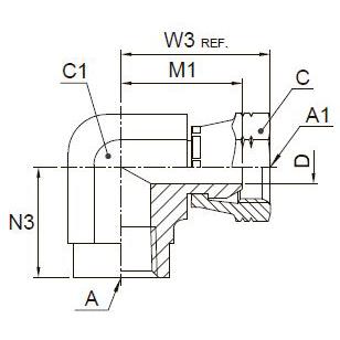 2207 Переходник угловой 45° с внутренней резьбой и стяжной гайкой. Нерж. сталь