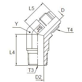 V3T4 Переходник угловой 450 с наружной резьбой