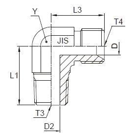 C3P4 Угловой переходник с наружной резьбой 90°