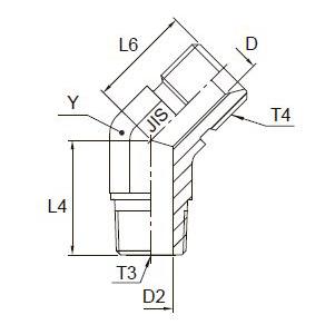 V3P4 Угловой переходник 45° с наружной резьбой