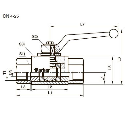 KH двухходовой шаровой стальной кран, BSPP