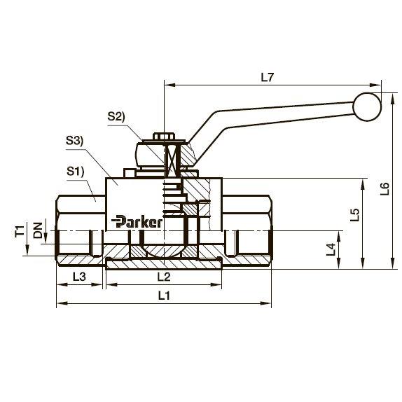 KH трехходовой компактный шаровой стальной кран BSPP