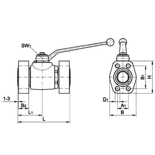 KH-B4V-S Шаровой кран с фланцем SAE ISO 6162 (1/2)