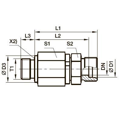 DG 102-R Прямой поворотный фитинг с шарикоподшипником и наружной резьбой