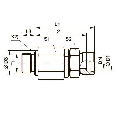 DG 102-M Прямой поворотный фитинг с шарикоподшипником и наружной резьбой