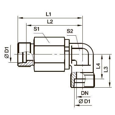 DG 103 Угловой поворотный фитинг с шарикоподшипником