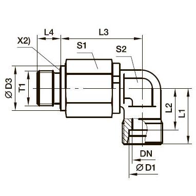 DG 104-R Угловой поворотный фитинг с шарикоподшипником и наружной резьбой