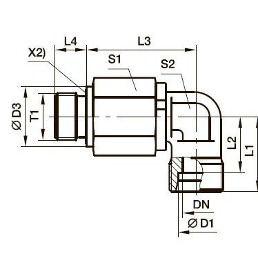 DG 104-M Угловой поворотный фитинг с шарикоподшипником и наружной резьбой