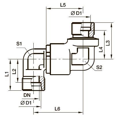 DG 105 Двухколенный поворотный фитинг с шарикоподшипником