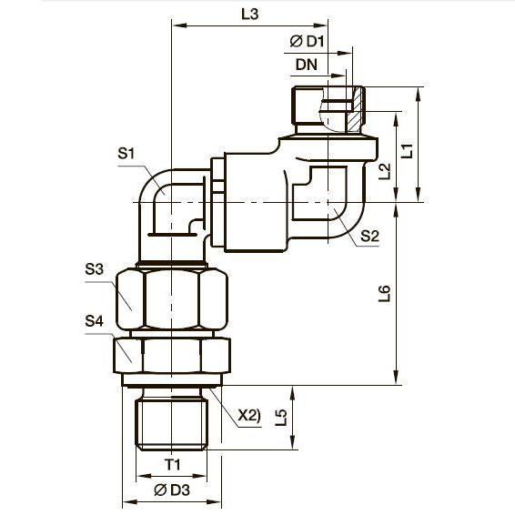 DG 106-R Двойной угловой поворотный фитинг с шарикоподшипником и штуцером