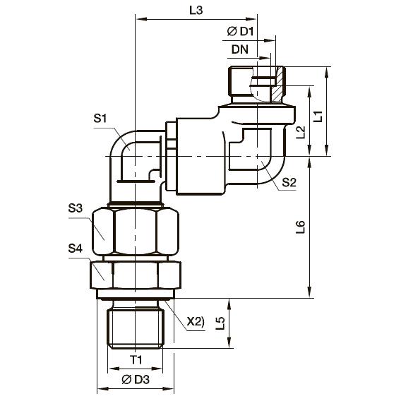 DG 106-M Двойной угловой поворотный фитинг с шарикоподшипником и штуцером