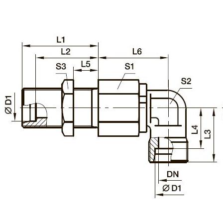 DG 108 Угловой поворотный переборочный фитинг с шарикоподшипником