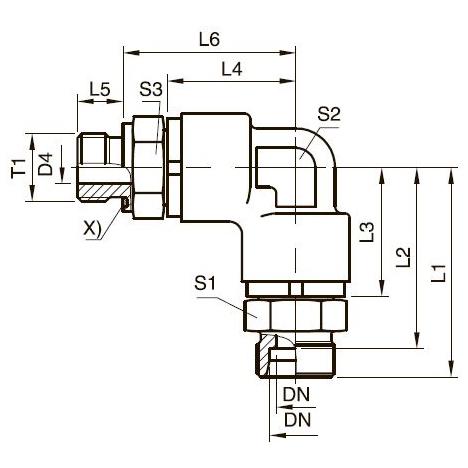 DG 208-R Угловой поворотный фитинг с шарикоподшипником и штуцером