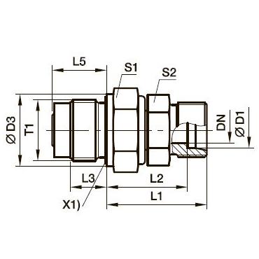 DVGE-R Прямой поворотный фитинг с подшипником скольжения и штуцером
