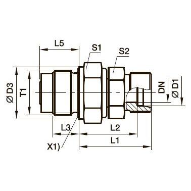 DVGE-M Прямой поворотный фитинг с подшипником скольжения и штуцером