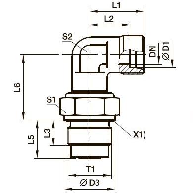 DVWE-R Угловой поворотный фитинг с подшипником скольжения и штуцером
