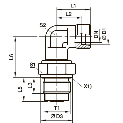 DVWE-M Угловой поворотный фитинг с подшипником скольжения и штуцером