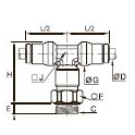 3698 Тройник ввертный симметричный, наружная резьба BSPP и метрическая