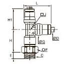 3693 Тройник ввертный с боковым отводом, наружная резьба BSPP и метрическая